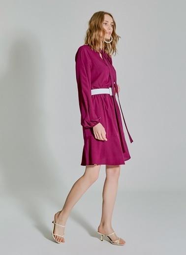 People By Fabrika Yakada Bağlama Detaylı Elbise Mürdüm